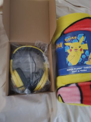 Pokemon Pikachu headphones &blanket for Sale in Dallas, TX