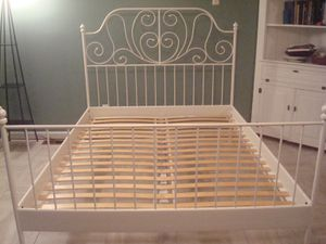 Ikea leirvik bed frame white queen size iron metal country style for Sale in Columbia, SC