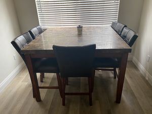 Sturdy stone top dining table with 6 chairs for Sale in Fresno, CA