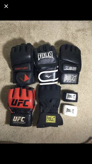 5 sets of MMA Gloves (Lightly Used) W/ (2) New Wraps for Sale in Arlington, VA