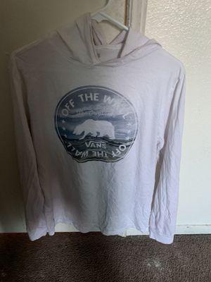 Vans long sleeve white sweatshirt with hoodie for Sale in Parlier, CA
