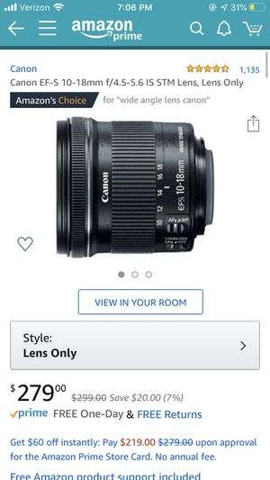 Canon EFS 10-18mm f/4.5-5.6 IS STM Lens (brand new unopened) for Sale in Lynnwood, WA