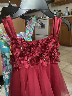Size 7 girl dress (10 for each burgundy and pink ) 5 dollars blue and pink flower for Sale in Richmond, VA