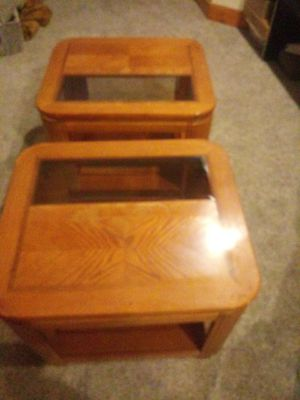 2 Wooden Glass Side Tables for Sale in Bloomington, IL