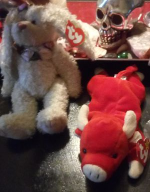Roselyn the rabbit beanie baby and snort the bull for Sale in Anderson, SC
