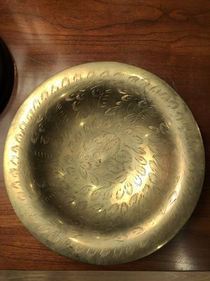 Vintage Solid Brass Bowl Hand Etched Made In India for Sale in Feasterville-Trevose, PA