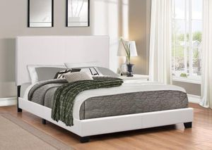 White Leather Queen Bed Frame with Mattress!! Brand New Can Deliver for Sale in Chicago, IL