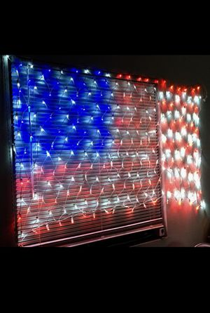 New in box 75 x 40 inches 260 led American USA flag net light 24 watts indoor or outdoor use for Sale in Whittier, CA