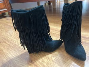 Fringe black boots size 8 runs small for Sale in Arlington, TX