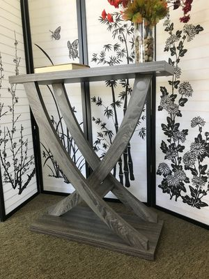 Leslie Crossing Legs Console Table, Distressed Grey Color for Sale in Garden Grove, CA
