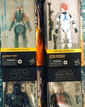 Star Wars Black Series Exclusives The Clone Wars Ahsoka, 332nd Trooper, Mandalorian Loyalists, Super Commando Mandalorian for Sale in Clovis, CA