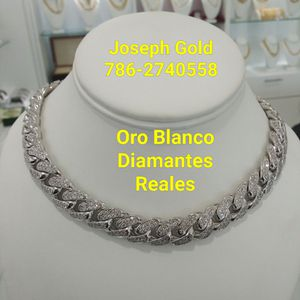 Cadena Oro Blanco Con DIAMANTES REALES. for Sale in Miami, FL
