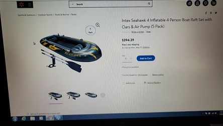 Seahawk 4 inflatable 4 person boat for Sale in Worcester,  MA