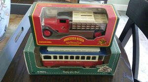 2-EACH Anheuser-Bush Collectible Diecast metal Toy Coin Banks including a 1930 Delivery truck and trolley car in original factory boxes made by ERTL. for Sale in Johns Creek, GA