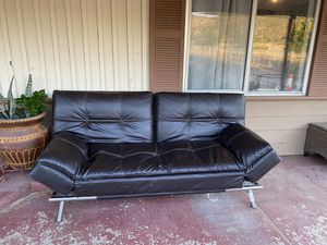 Futon leather couch for Sale in Colton, CA