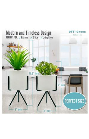 Modern and Realistic Looking Fake Potted Plants – Comes with Chic Ceramic Pots and Metal Stands – 2 Tabletop Plants Perfect for Home, Office for Sale in Mesquite, TX