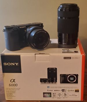 ••••• Sony - Alpha a6000 Mirrorless Camera Two Lens Kit with 16-50mm and 55-210mm Lenses - Black for Sale in Aurora, IL
