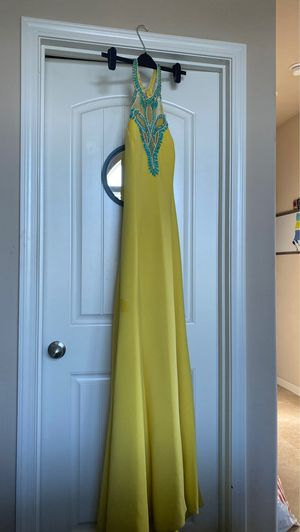 Johnathan Kayne Yellow Dress with Turquoise Rhinestones for Sale in Pumpkin Center, CA