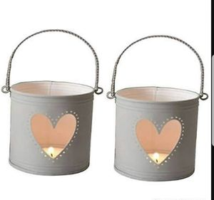 Set of 2 Lanterns, 4 inch High with Heart Cutout. Ideal Gift for Weddings, Party, DIY Craft and Floral Projects, Party Favors, Baby Showers for Sale in Fort Worth, TX