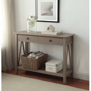 Linon Titian Console Table, Rustic Gray, 2 Drawers Description:Rustic gray finish Simple yet eye-catching design Versatile design 2 drawers provide a for Sale in Houston, TX
