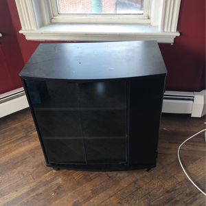 Utility Storage Cabinet On Wheels With Glass Doors And 3 Shelves for Sale in Boston, MA