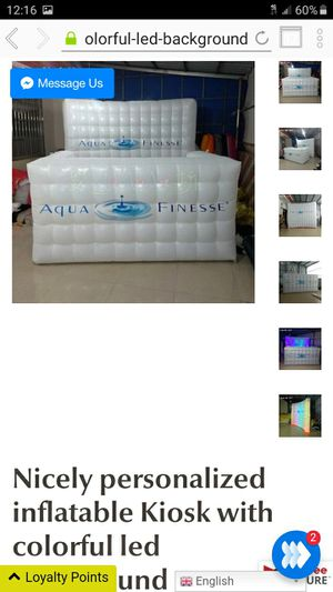 Nicely personalized inflatable Kiosk with colorful led background for Sale in Moreno Valley, CA