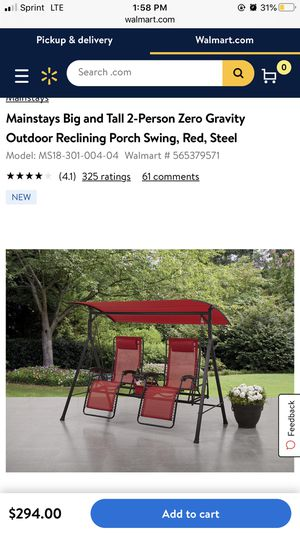 Mainstays Big and Tall 2-Person Zero Gravity Outdoor Reclining Porch Swing, Red, Steel for Sale in Chicago, IL