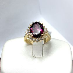 14k Yellow Gold Diamond & Red Tourmaline Ring for Sale in Tustin,  CA