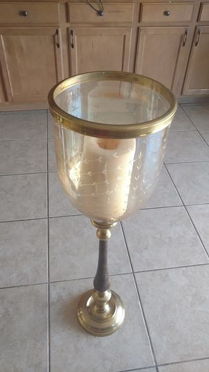 Beautiful Brass Candelabra with etched glass for Sale in El Mirage, AZ