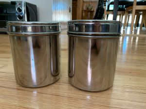 2 steel containers with see through lids for storage for Sale in East Brunswick, NJ