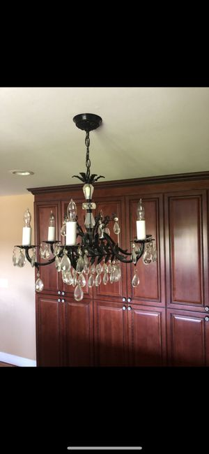 Black chandelier with 64 crystals for Sale in Lodi, CA