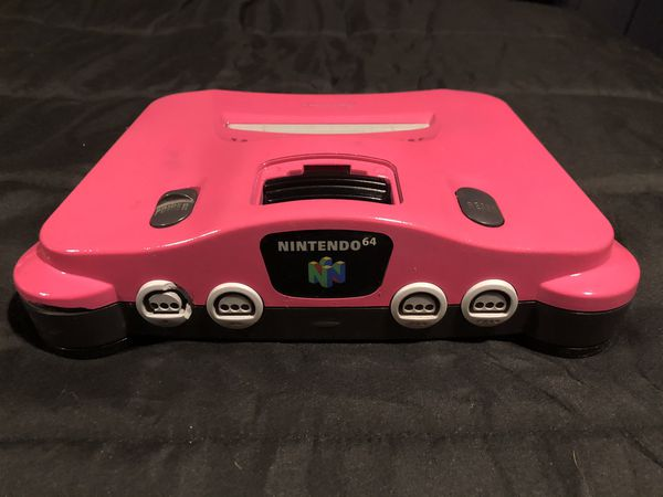 Hot Pink Nintendo 64 N64 Complete, Four Grey Controllers, Three Tremor Paks, & 20 Game Paks (Trade or Buy)