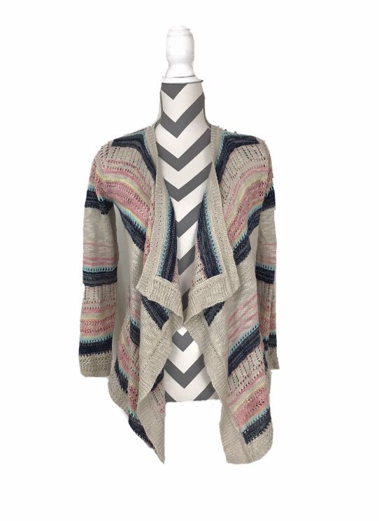 Pink Republic Striped Open Cardigan - Size M