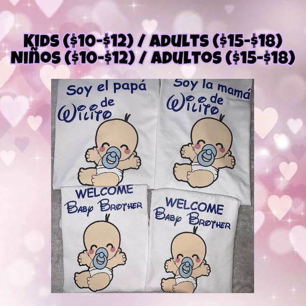 Baby Shower Costume / Personalized / T-shirt's / Playeras Personalizadas Para Baby Shower