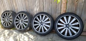 "22"" WHEELS AND TIRES 5X130 TIRES ARE ALMOST NEW WHEELS ARE IN GREAT SHAPE NOT CHINA MADE for Sale in Long Beach, CA"