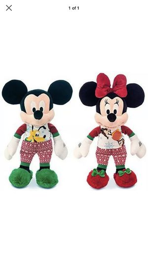 """Disney Mickey and Minnie Mouse holiday pajamas plush doll set 18"""" medium (2pcs) for Sale in Fort Worth, TX"""