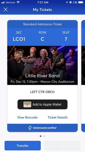 Tickets - Little River Band 3rd Row Center! for Sale in Macon, GA