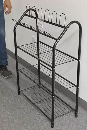 New in box 25x10x36 inches tall steel shoe organizer 4 tier storage metal stand rack for Sale in Whittier, CA