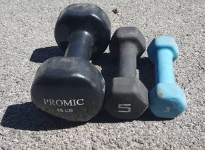 Single dumbbell set (15, 5, 3 pounds) for Sale in Las Vegas, NV