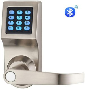 Smart Keyless Security Digital Code Door Lock with Keys and Key Card — Satin Silver for Sale in Chatsworth, CA
