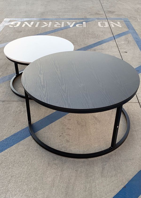 NEW CharaHOME 2 PC Set Round Coffee Table Nesting Table 36 Diameter Inch Black Large 28 Inches Small White Furniture