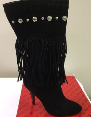 Black Suede Fringe High Heel Boots for Sale in Ontarioville, IL