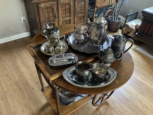 Antique Tea Cart and Silver Set for Sale in Riverside, CA