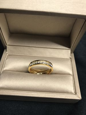 18K yellow Gold plated with Simulated Diamonds ring 💍 size 7 for Sale in Bellwood, IL