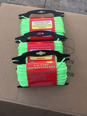 "5/32""X75FT Polypropylene rope $3.99 each for Sale in Fremont, CA"