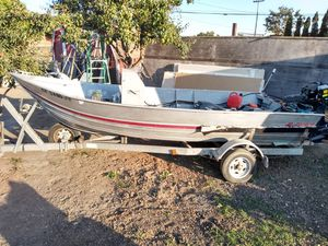 Evinrude 40hp 2 cycle engine on '88 Western 15.5' aluminum fishing boat w galvanized trailer w hand winch & hydrologic power trim for Sale in Santa Rosa, CA