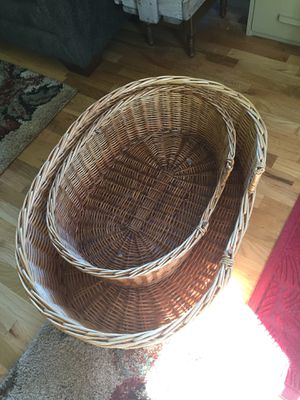 Basket dog beds. I is 33x23x10. The other is 27x18x8. They are both in great shape . Asking $50 for both or $40 for large and $20 for small. for Sale in Wenatchee, WA
