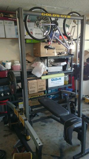 Smith machine weight bench and over 300 pound of weights for Sale in DeSoto, TX
