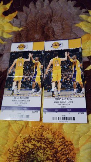 Lakers vs mavericks 2012 original tickets for Sale in Los Angeles, CA