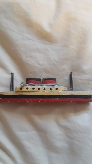 Vintage wooden hand painted toy boat for Sale in La Mesa, CA